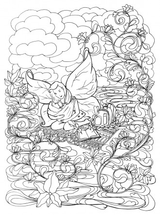 Adult coloring book page with Mother breast feeding her baby,